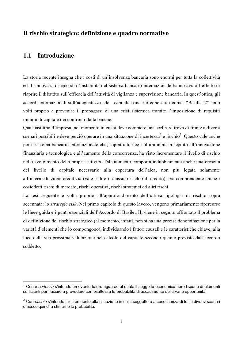 Il rischio strategico: aspetti normativi e gestionali alla luce di Basilea II - Tesi di Laurea