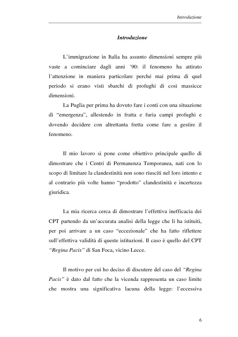 Anteprima della tesi: Le politiche migratorie in italia: i centri di permanenza temporanea. Il caso del ''regina pacis'' di Lecce., Pagina 1