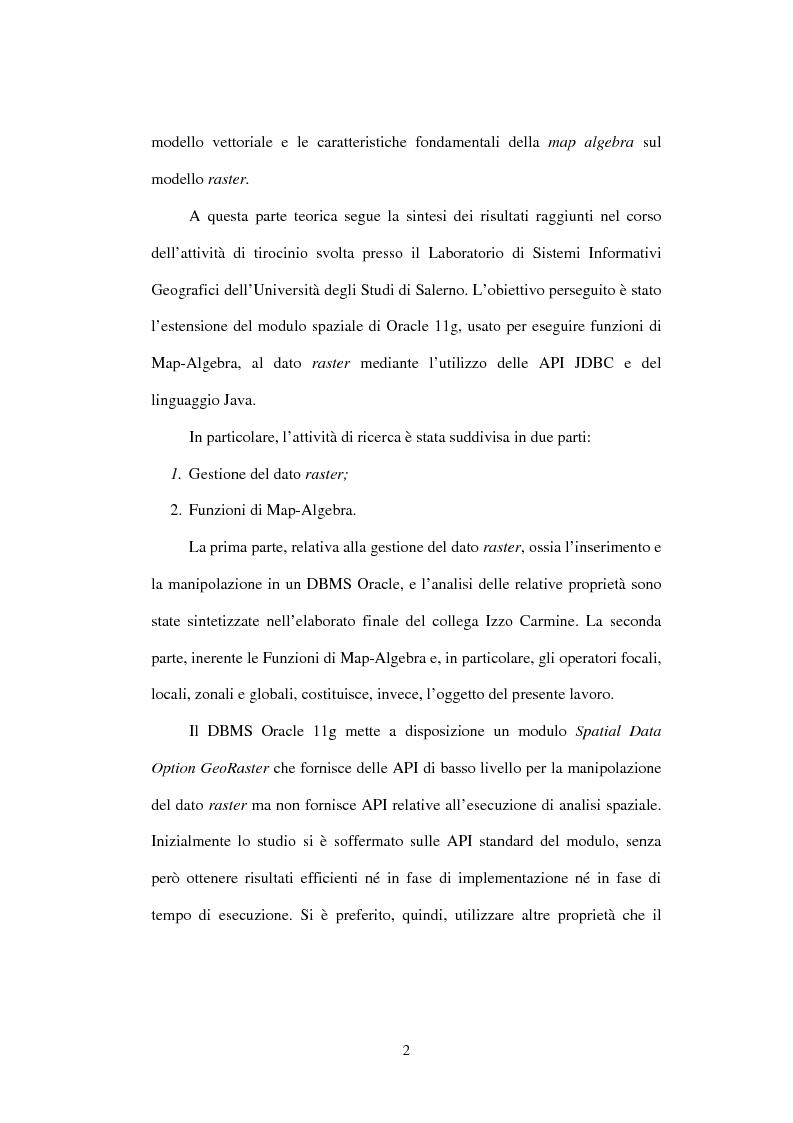 Anteprima della tesi: Le basi di dati geografiche in Spatial Oracle: funzioni di map-algebra, Pagina 2