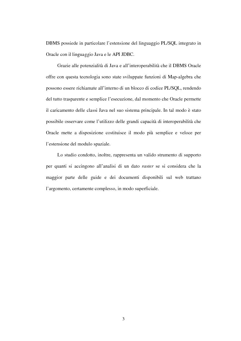 Anteprima della tesi: Le basi di dati geografiche in Spatial Oracle: funzioni di map-algebra, Pagina 3