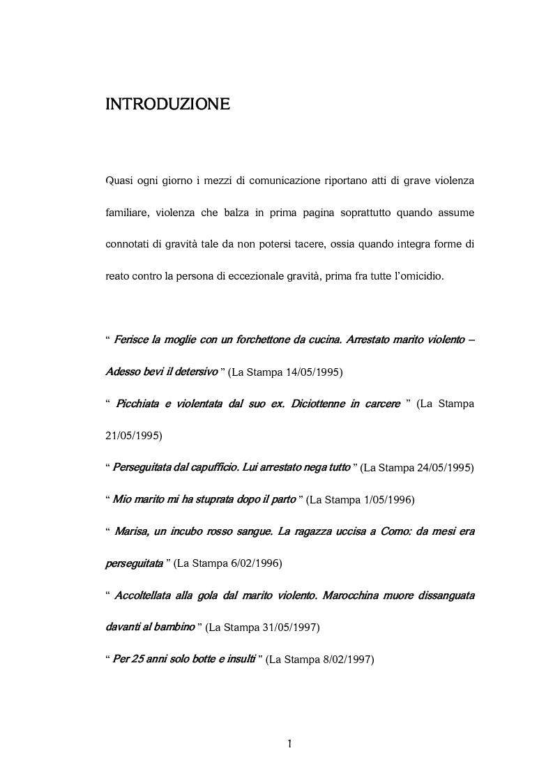 Anteprima della tesi: La donna vittima per mano dell'uomo. Stalking dentro e fuori le mura domestiche, Pagina 1