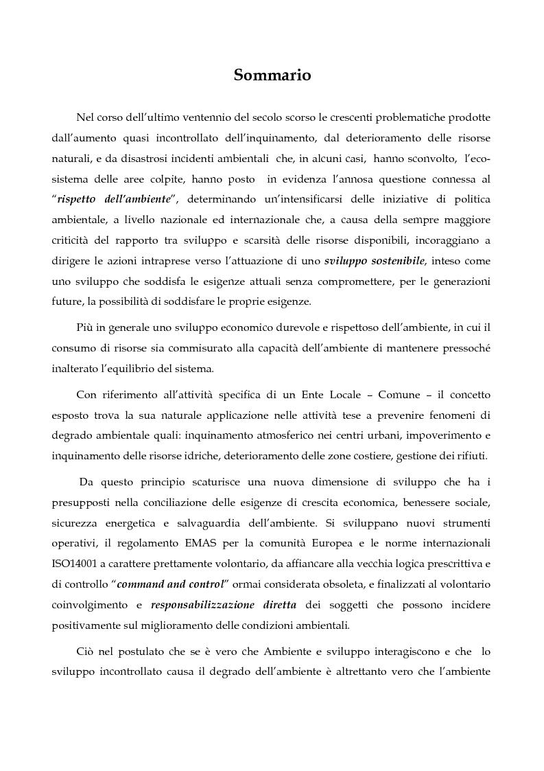 Il regolamento comunitario 761/2001 - La norma ISO 14001, similitudini e differenze. Applicazione del regolamento ad un ...