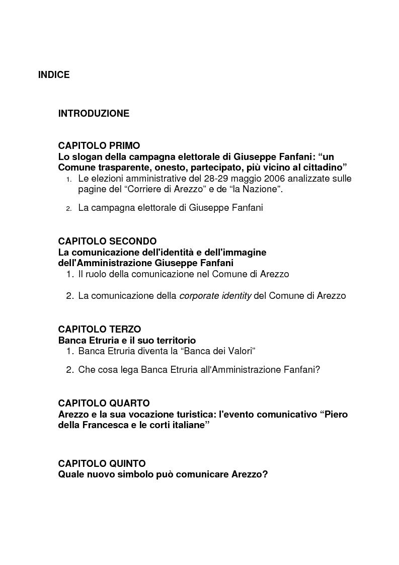 Indice della tesi: Comunicare la città. Quale brand per Arezzo?, Pagina 1