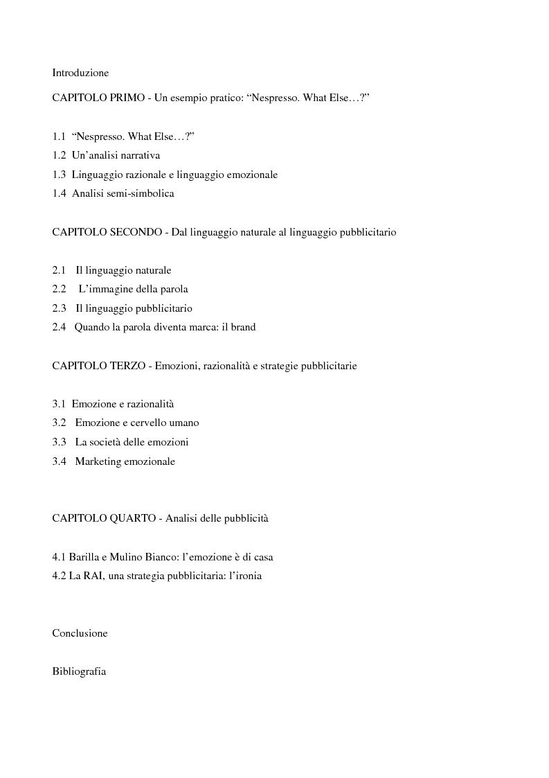 Indice della tesi: Emozione e metafora nel messaggio pubblicitario, Pagina 1