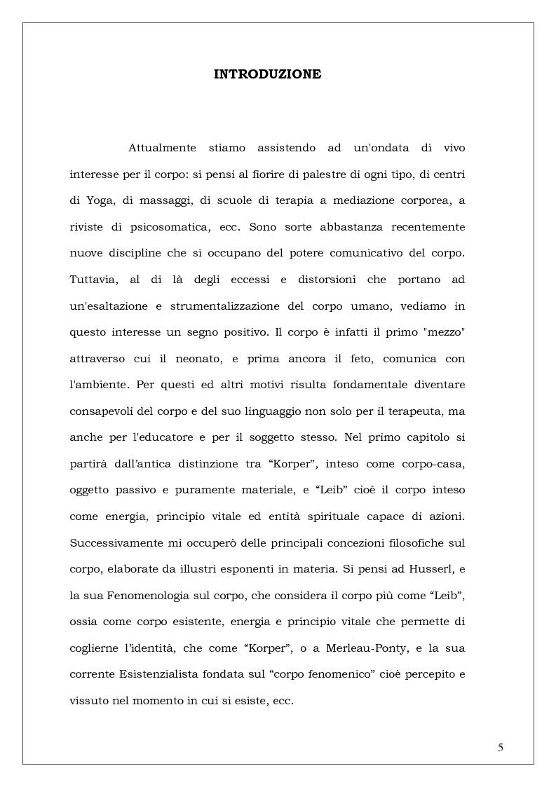 Anteprima della tesi: Il corpo che danza - Aspetti educativi del movimento espressivo, Pagina 1