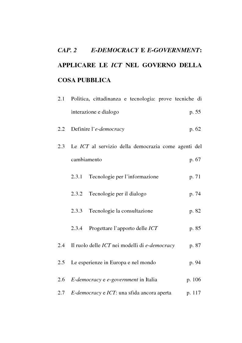 Indice della tesi: Le ICT al servizio dei progetti di democrazia elettronica, Pagina 2
