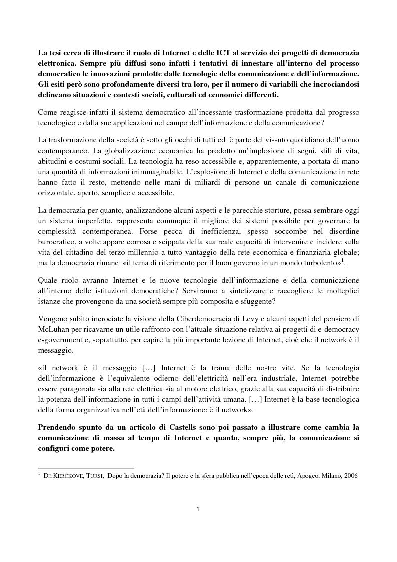 Anteprima della tesi: Le ICT al servizio dei progetti di democrazia elettronica, Pagina 1