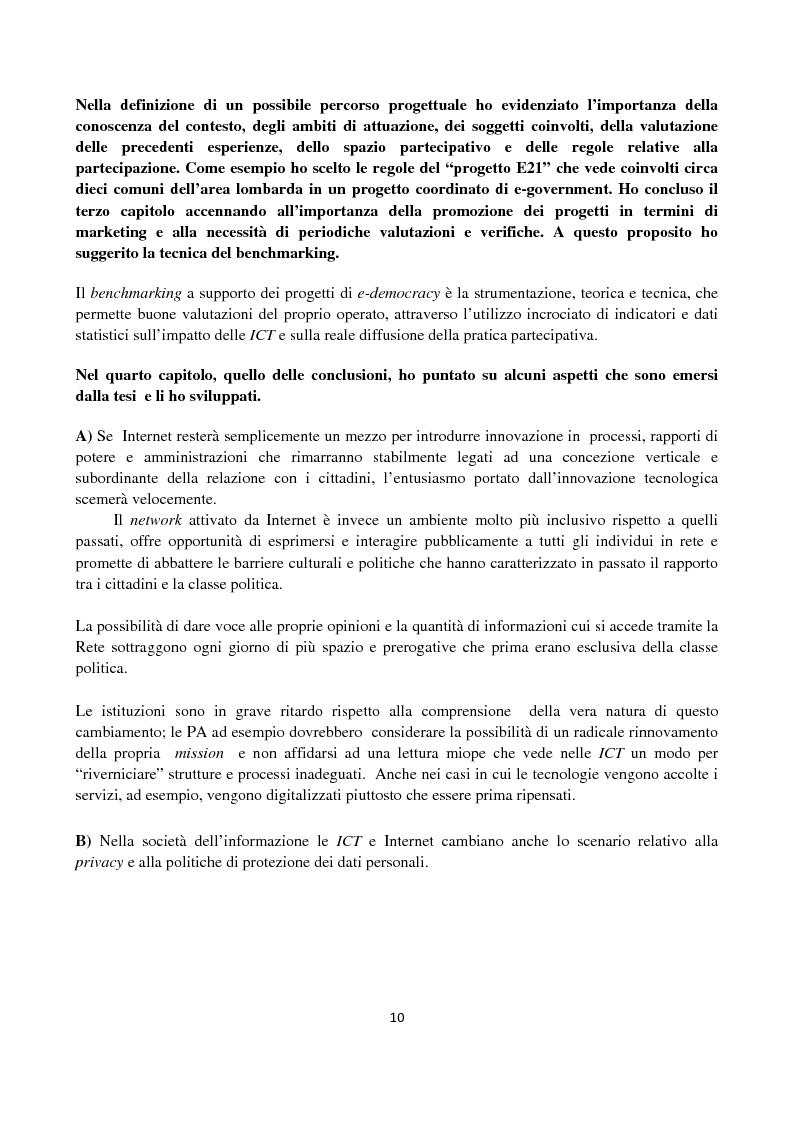 Anteprima della tesi: Le ICT al servizio dei progetti di democrazia elettronica, Pagina 10