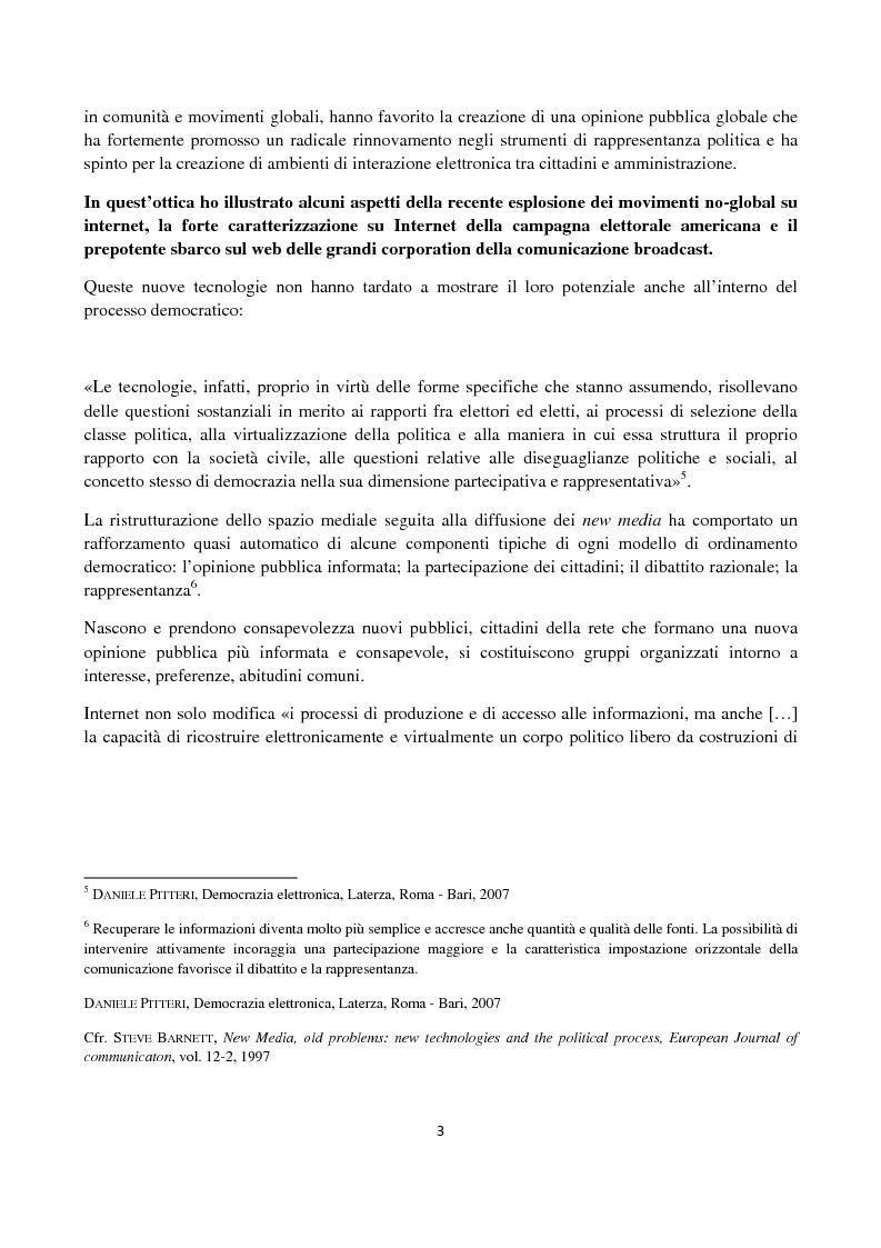 Anteprima della tesi: Le ICT al servizio dei progetti di democrazia elettronica, Pagina 3