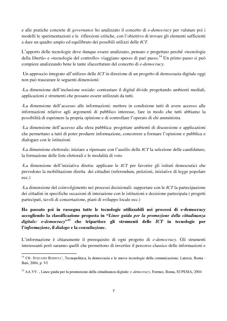 Anteprima della tesi: Le ICT al servizio dei progetti di democrazia elettronica, Pagina 7