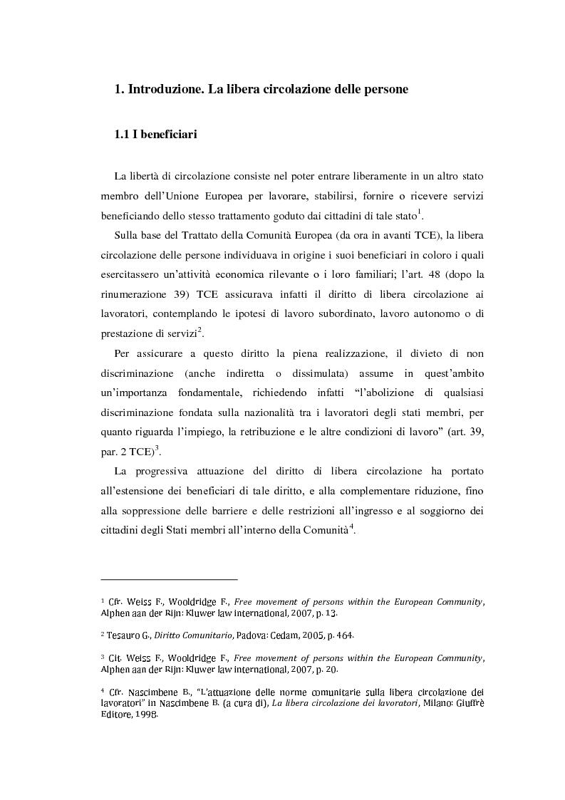 La libera circolazione delle persone e l\'ordinamento italiano: l ...