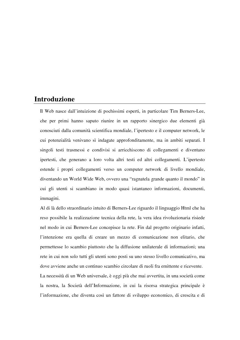 Anteprima della tesi: Una tecnica per l'analisi e la reingegnerizzazione di pagine Web al fine di migliorarne l'usabilità per utenti non vedenti, Pagina 1