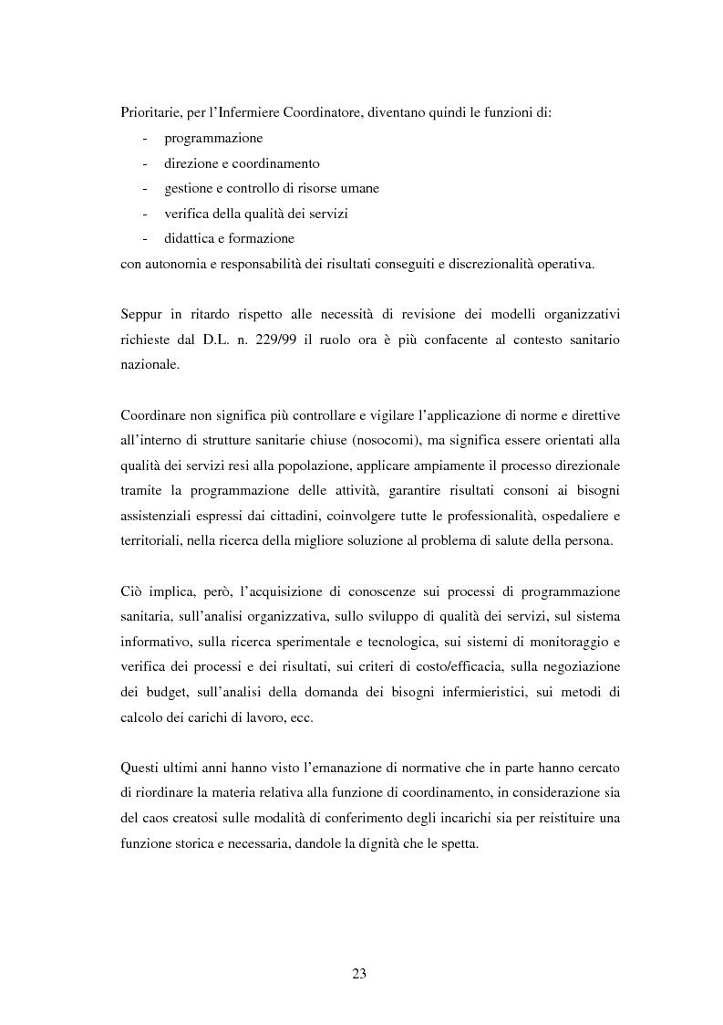 Estratto dalla tesi: Le competenze dell'infermiere coordinatore connesse ai problemi di qualità dei servizi sanitari