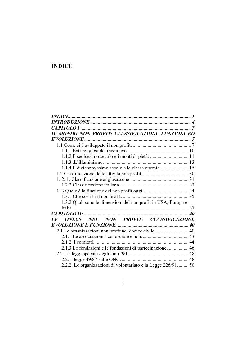 Indice della tesi: Comunicazione sociale e funzione delle onlus, Pagina 1