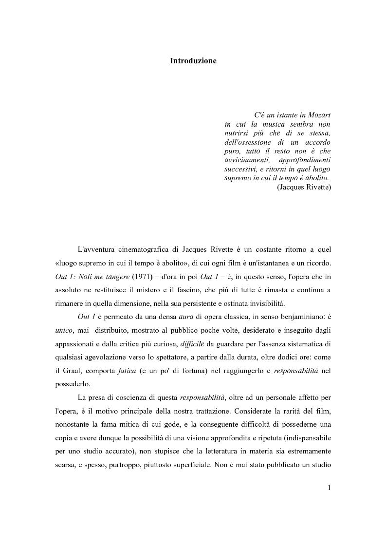 Anteprima della tesi: Un nuovo capolavoro sconosciuto. Out 1: Noli me tangere (1971) di Jacques Rivette, Pagina 1
