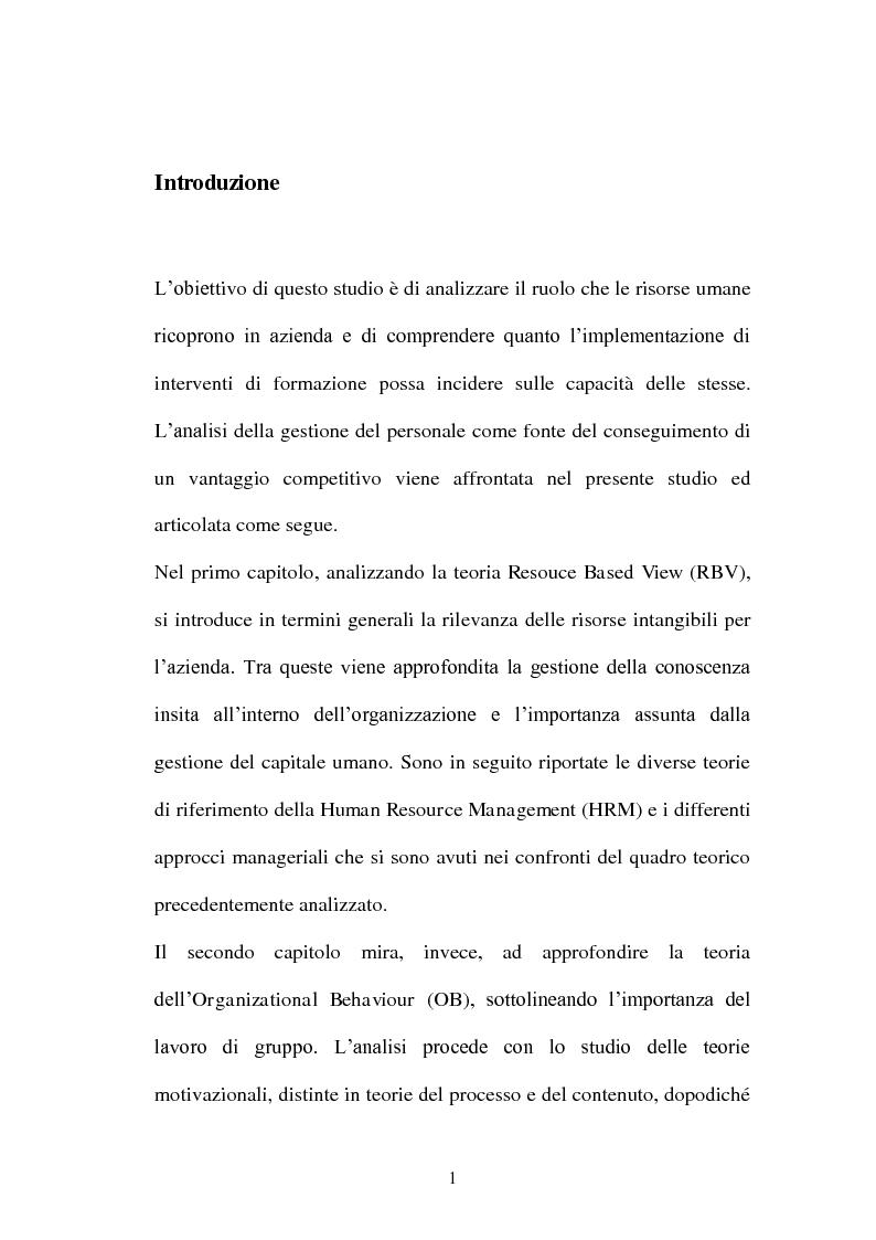 Anteprima della tesi: La gestione del personale come fonte di vantaggio competitivo, Pagina 1
