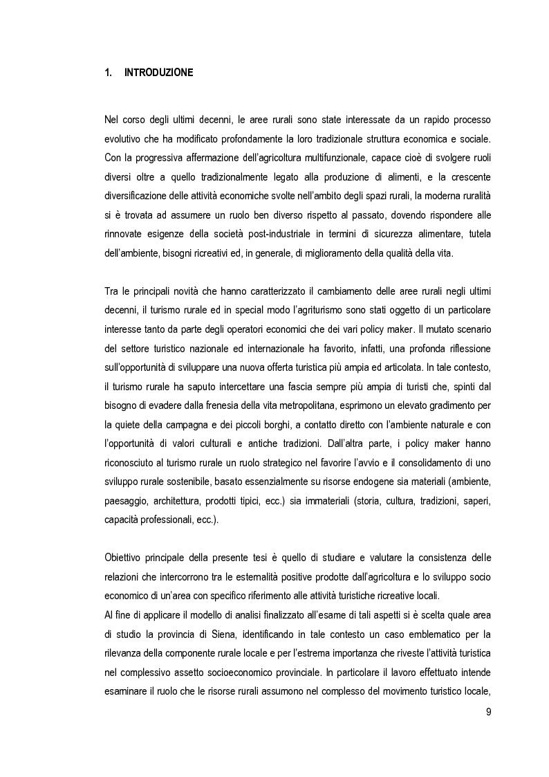 Anteprima della tesi: Risorse rurali e turismo nei processi di sviluppo locale. Il caso della provincia di Siena, Pagina 1