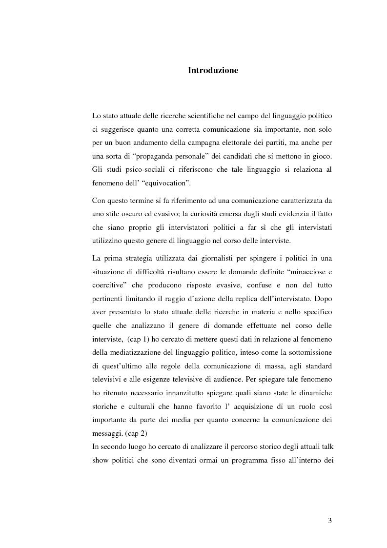 Anteprima della tesi: La mediatizzazione del linguaggio politico in Italia: le interviste televisive tra giornalismo ed audience, Pagina 1