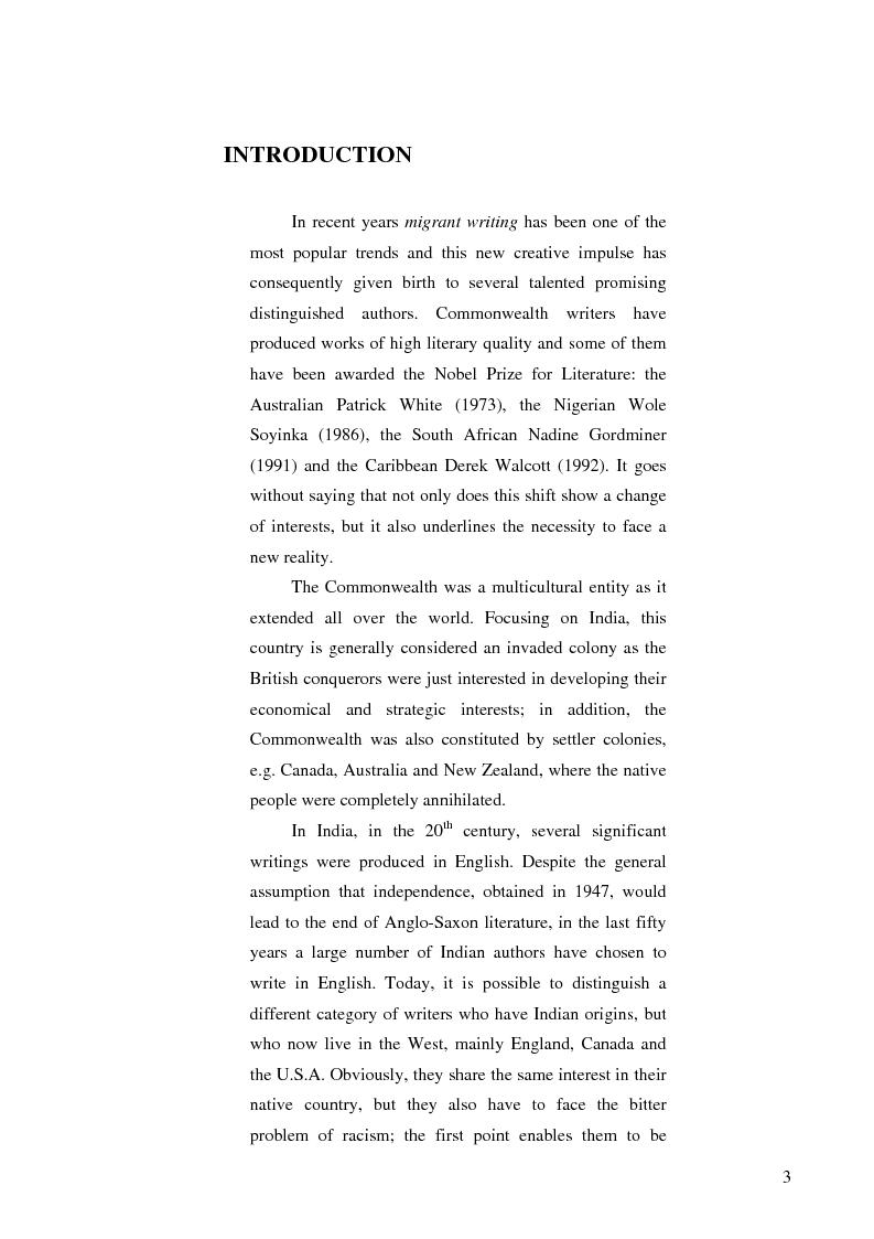 Anteprima della tesi: Migration To Nowhere. The Limbo of Bharati Mukherjee's Wife., Pagina 1