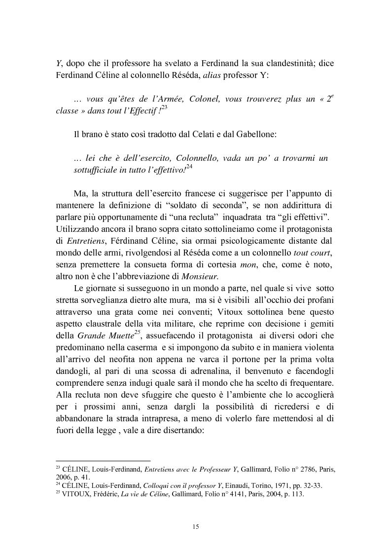Estratto dalla tesi: Bardamu alla grande guerra. Analisi letteraria degli aspetti militari presenti in Voyage au bout de la nuit di Céline.