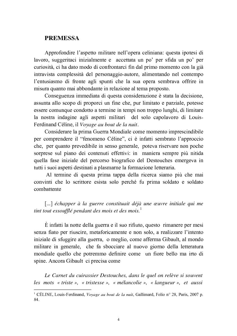 Anteprima della tesi: Bardamu alla grande guerra. Analisi letteraria degli aspetti militari presenti in Voyage au bout de la nuit di Céline., Pagina 1