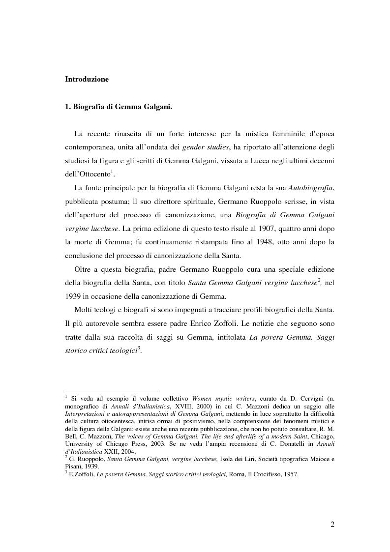 Anteprima della tesi: Generi letterari della scrittura mistica: il caso di Gemma Galgani, Pagina 1