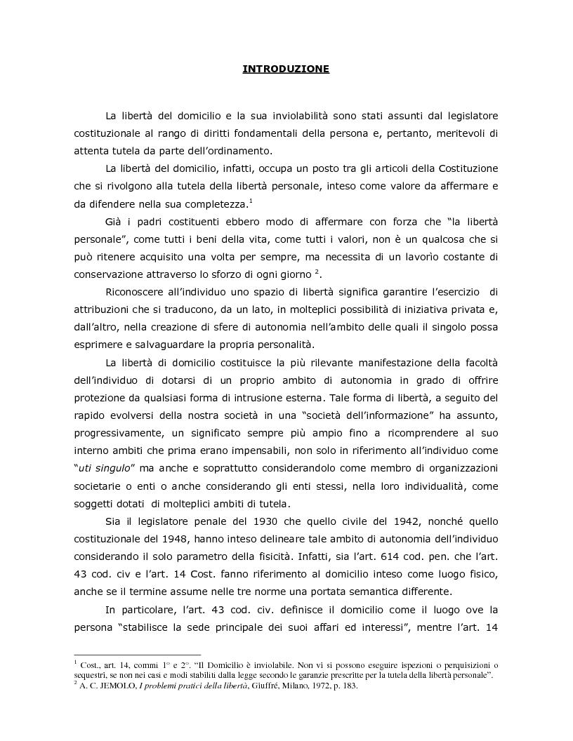 Anteprima della tesi: La tutela penale del domicilio informatico, Pagina 1