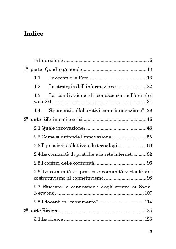 Indice della tesi: Innovazioni e pratiche didattiche: l'uso della rete da parte dei docenti, Pagina 1
