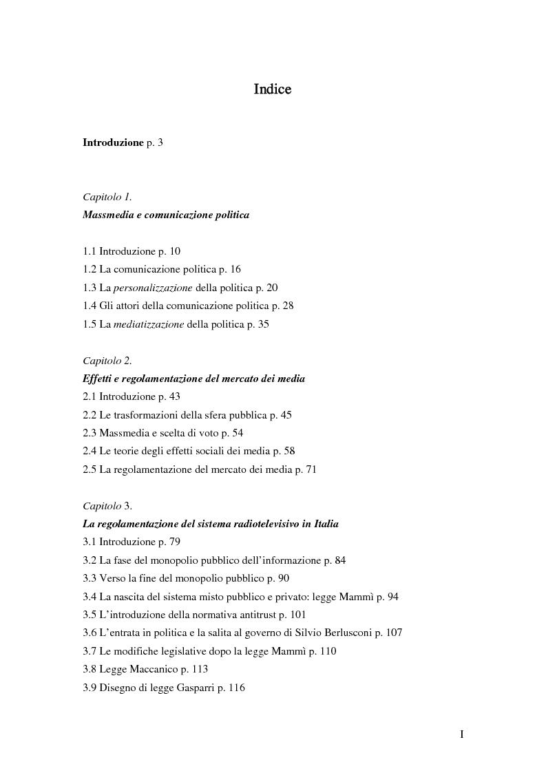 Indice della tesi: Media, democrazia e conflitto di interessi. Il sistema dell'informazione nell'Italia dopo il 1993, Pagina 1