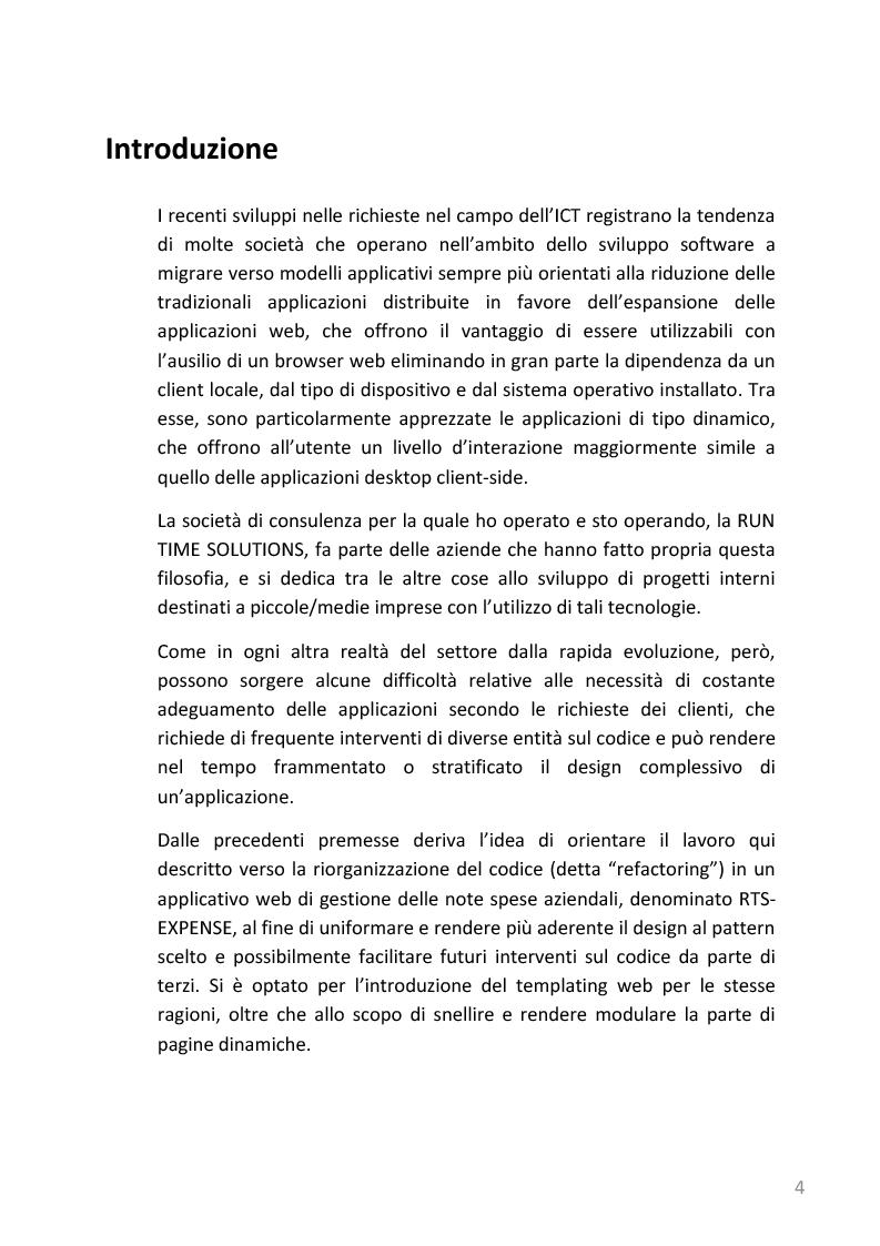 Anteprima della tesi: Refactoring e templating web di un'applicazione web di gestione note spese basata su J2EE, Pagina 1