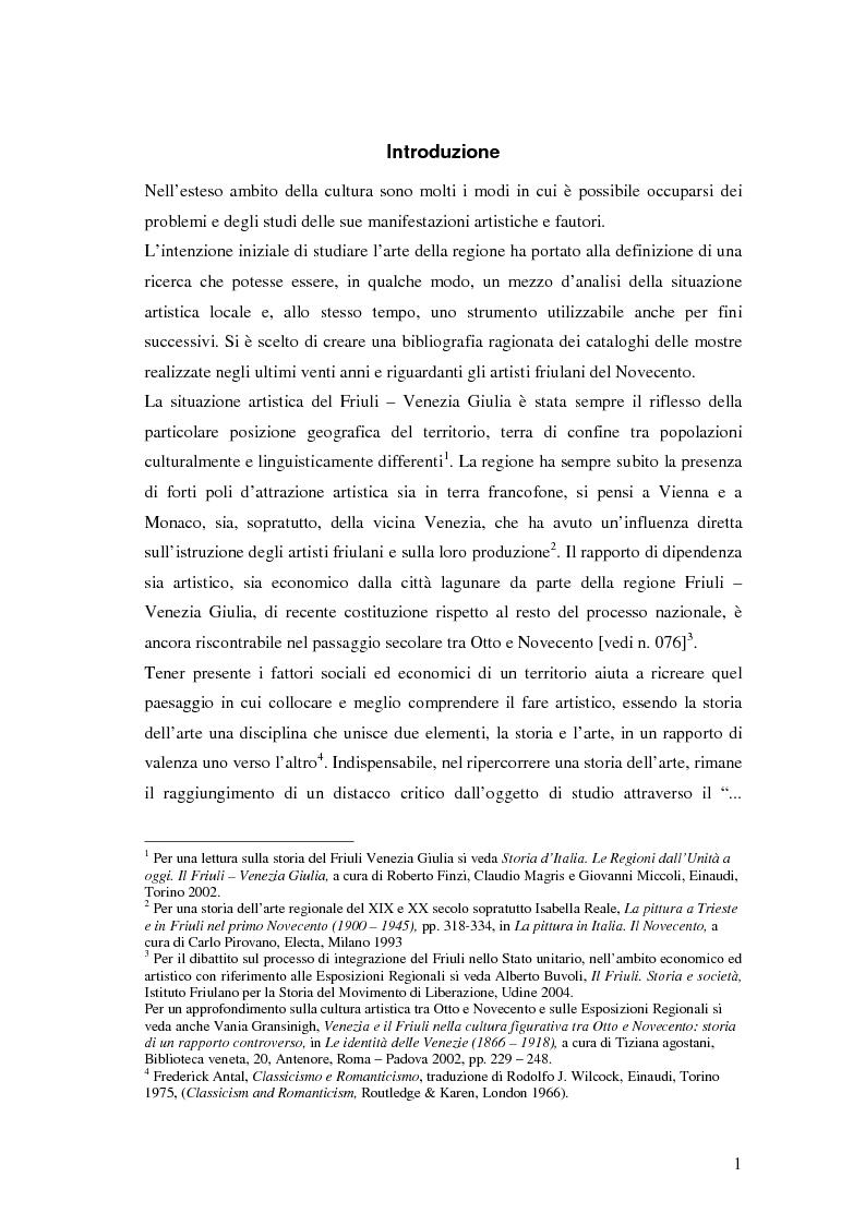 Arte friulana del Novecento. Una bibliografia ragionata 1986-2006 - Tesi di Laurea