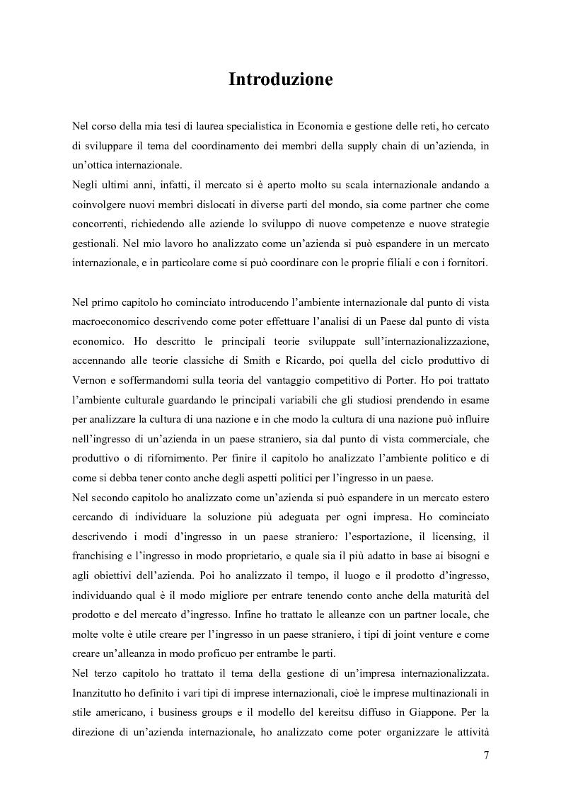 Anteprima della tesi: Il coordinamento della supply chain globalizzata, Pagina 1