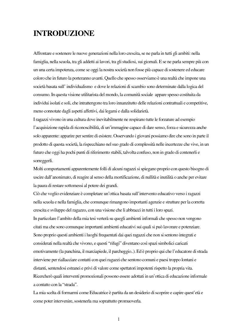 Anteprima della tesi: Gli adolescenti oggi: il ruolo dell'educatore, il caso dell'educativa di strada e il mercato dell'immaginazione, Pagina 1