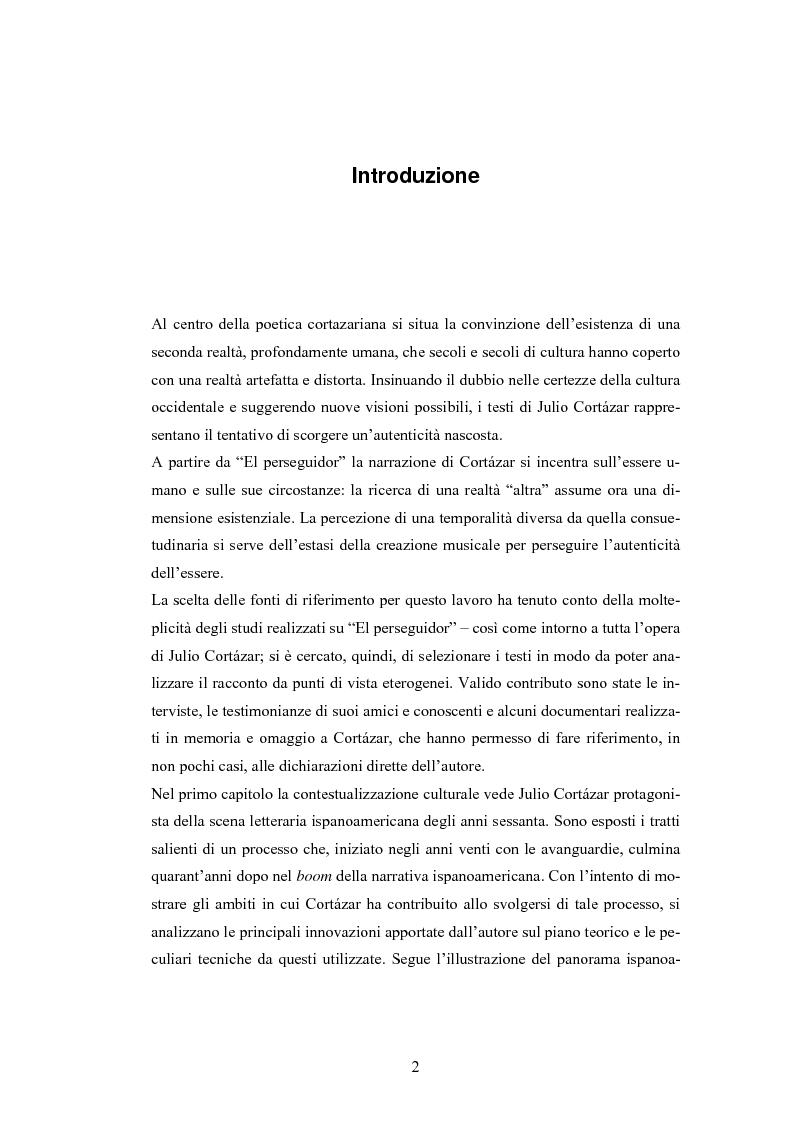 """Anteprima della tesi: «Esto ya lo toqué mañana» - Viaggio attraverso gli interstizi nella linea del tempo in """"El perseguidor"""" di Julio Cortázar, Pagina 1"""