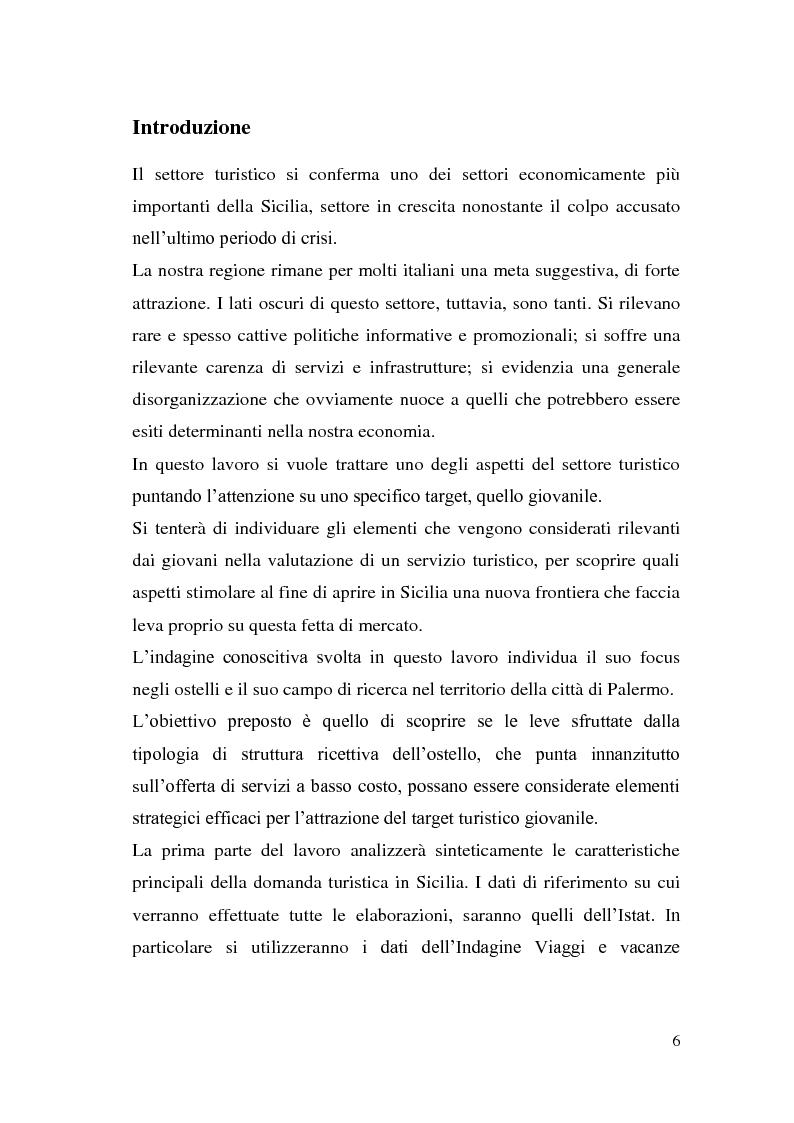 Il turismo giovanile in Sicilia: la formula dell'ostello per potenziare l'offerta ai giovani Il caso Student's Hostel Sa...