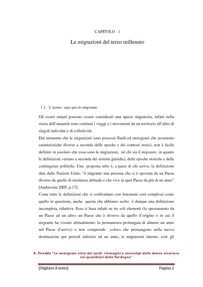 Anteprima della tesi: Le immigrate viste dai sardi. Immagini e stereotipi delle donne straniere nei quotidiani della Sardegna, Pagina 1