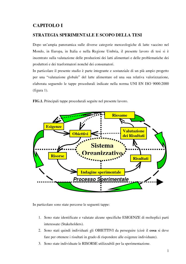 Anteprima della tesi: Valutazione e valorizzazione del latte alimentare prodotto in Italia, Pagina 1