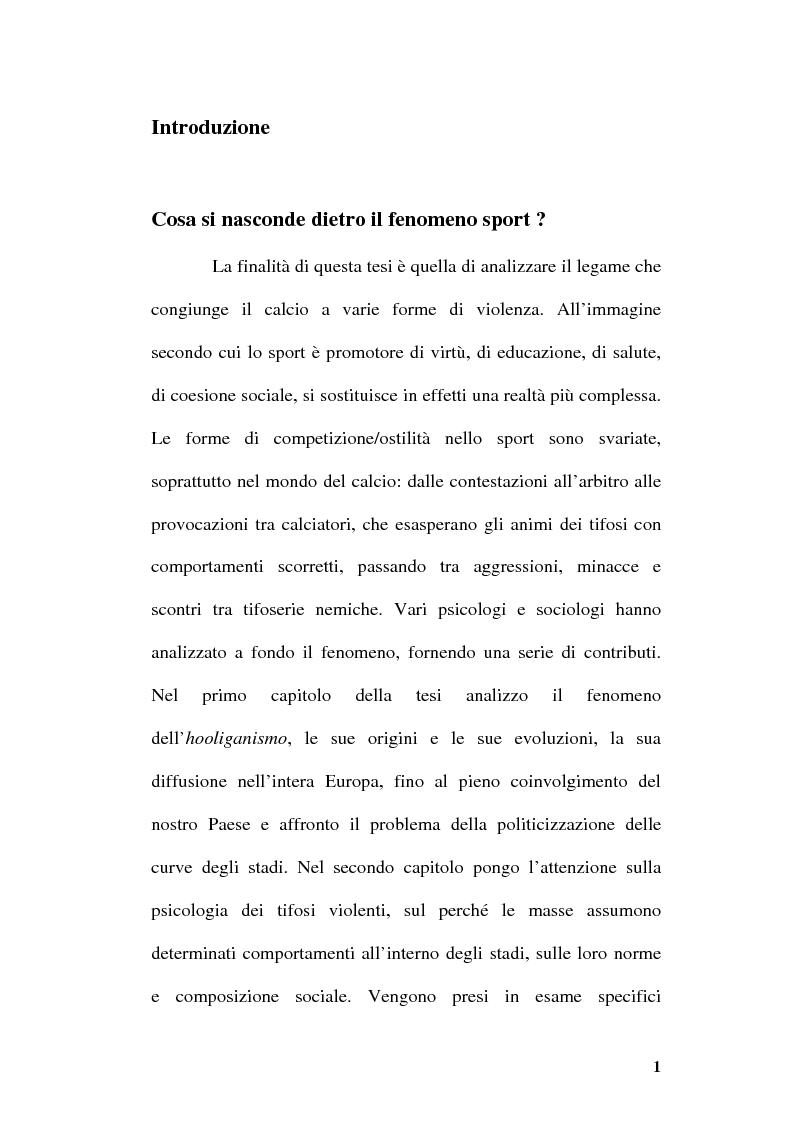Anteprima della tesi: La violenza negli stadi: aspetti psico/sociali, Pagina 1