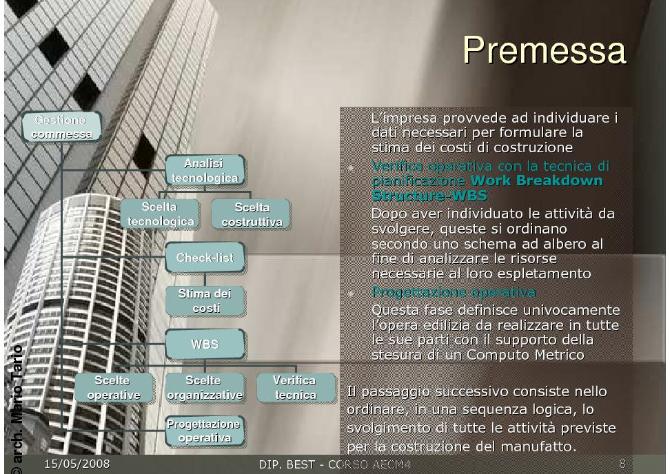 Gestione e controllo della progettazione e della for Progettazione della costruzione domestica