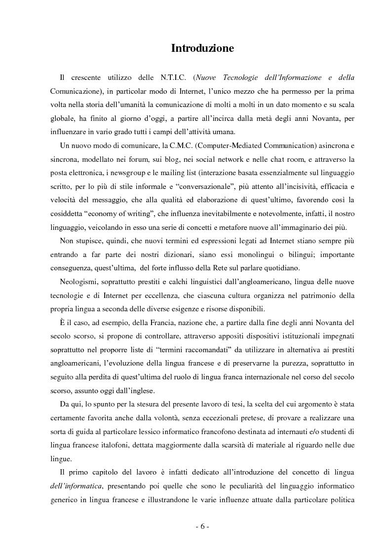 Le Jargon Informatique: il linguaggio dell'informatica e di Internet in lingua francese - Tesi di Laurea