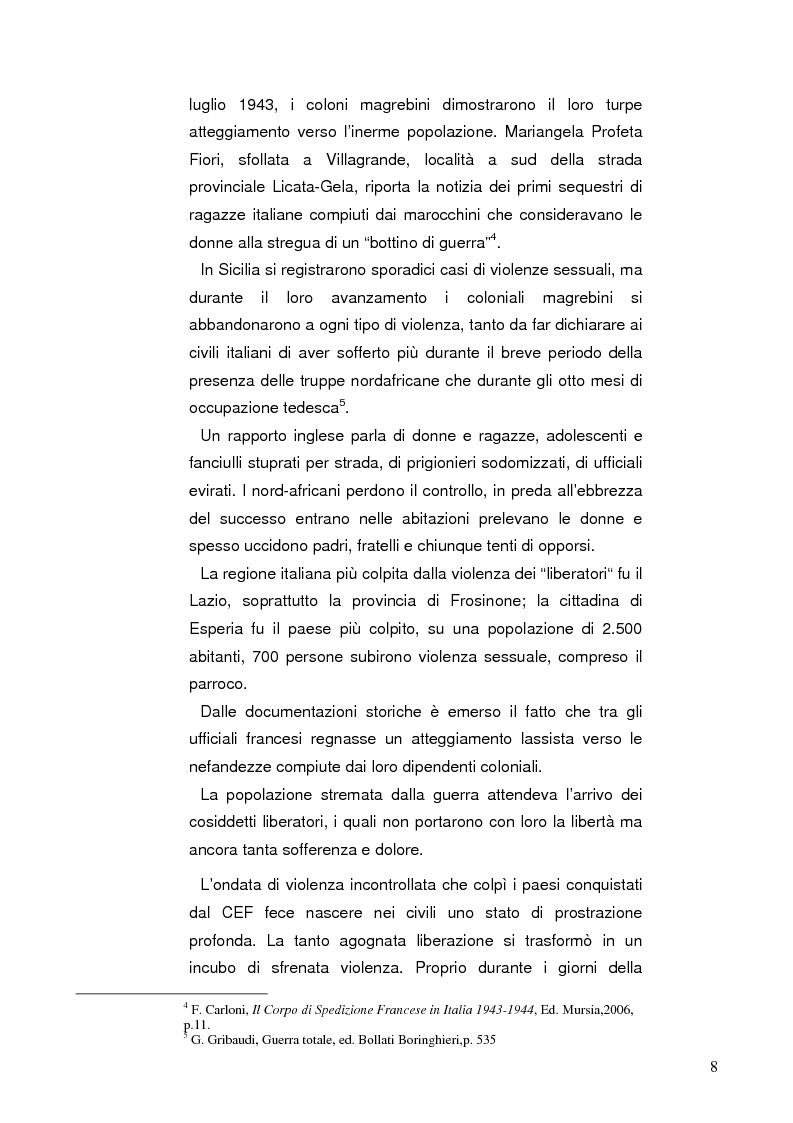Anteprima della tesi: Una pagina oscura della guerra di liberazione nell'Italia centromeridionale: ''Le marocchinate'', Pagina 2