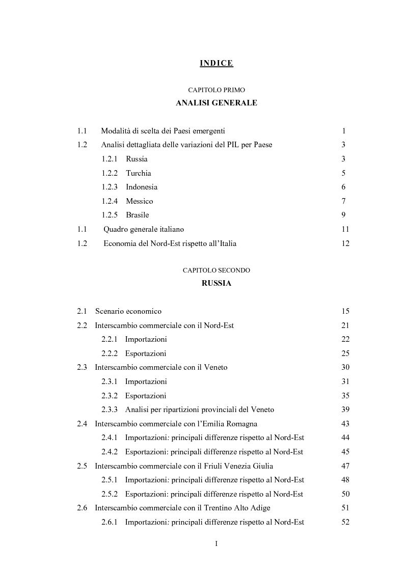Indice della tesi: L'interscambio tra Nord-Est e alcuni paesi emergenti: Russia, Turchia, Brasile, Messico, Indonesia, Pagina 1