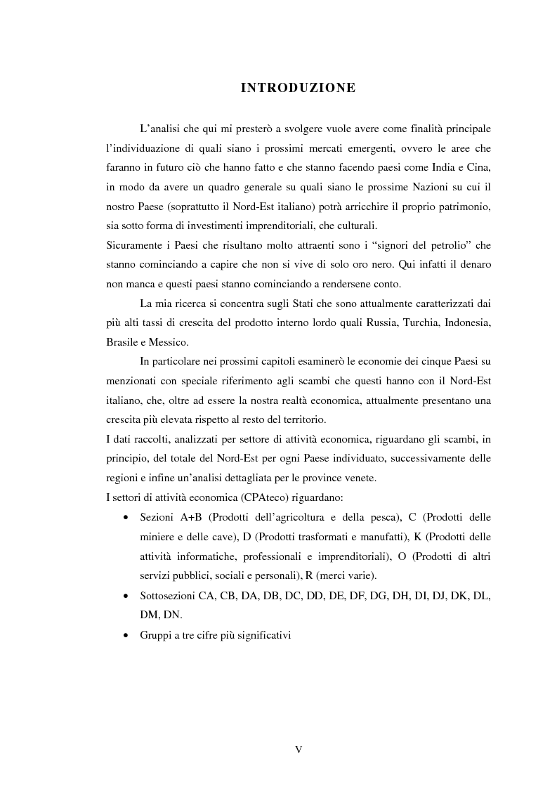 Anteprima della tesi: L'interscambio tra Nord-Est e alcuni paesi emergenti: Russia, Turchia, Brasile, Messico, Indonesia, Pagina 1