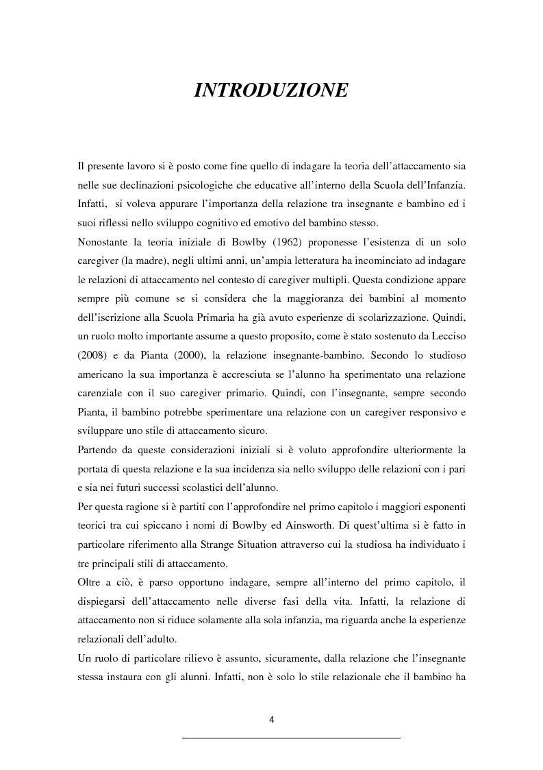 La teoria dell'attaccamento nella Scuola dell'Infanzia - Tesi di Laurea