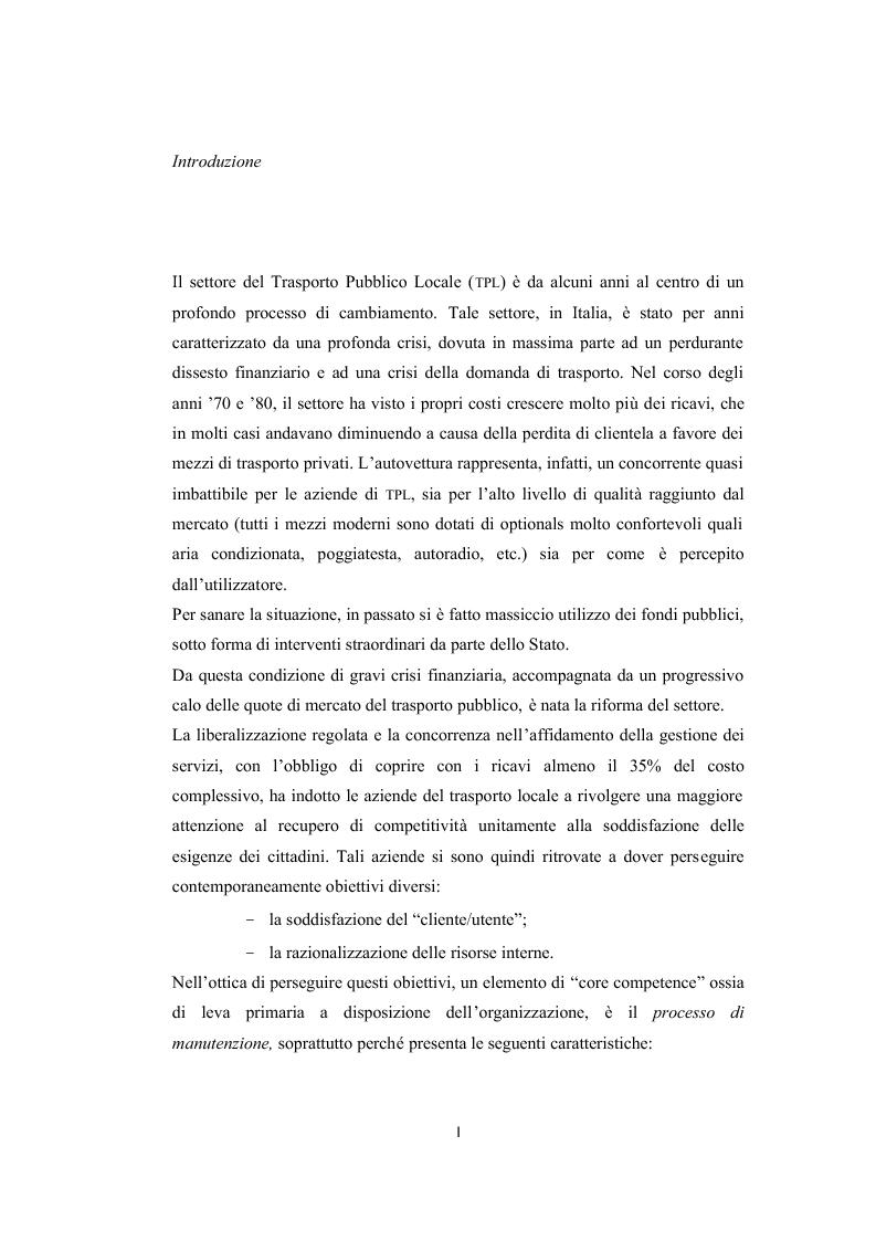 I processi di manutenzione del parco veicoli nelle aziende di trasporto pubblico locale. Il caso Compagnia Pisana Traspo...