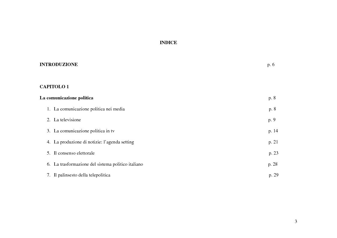Indice della tesi: Tg e politica. Studio di un caso: elezioni politiche 2006, Pagina 1