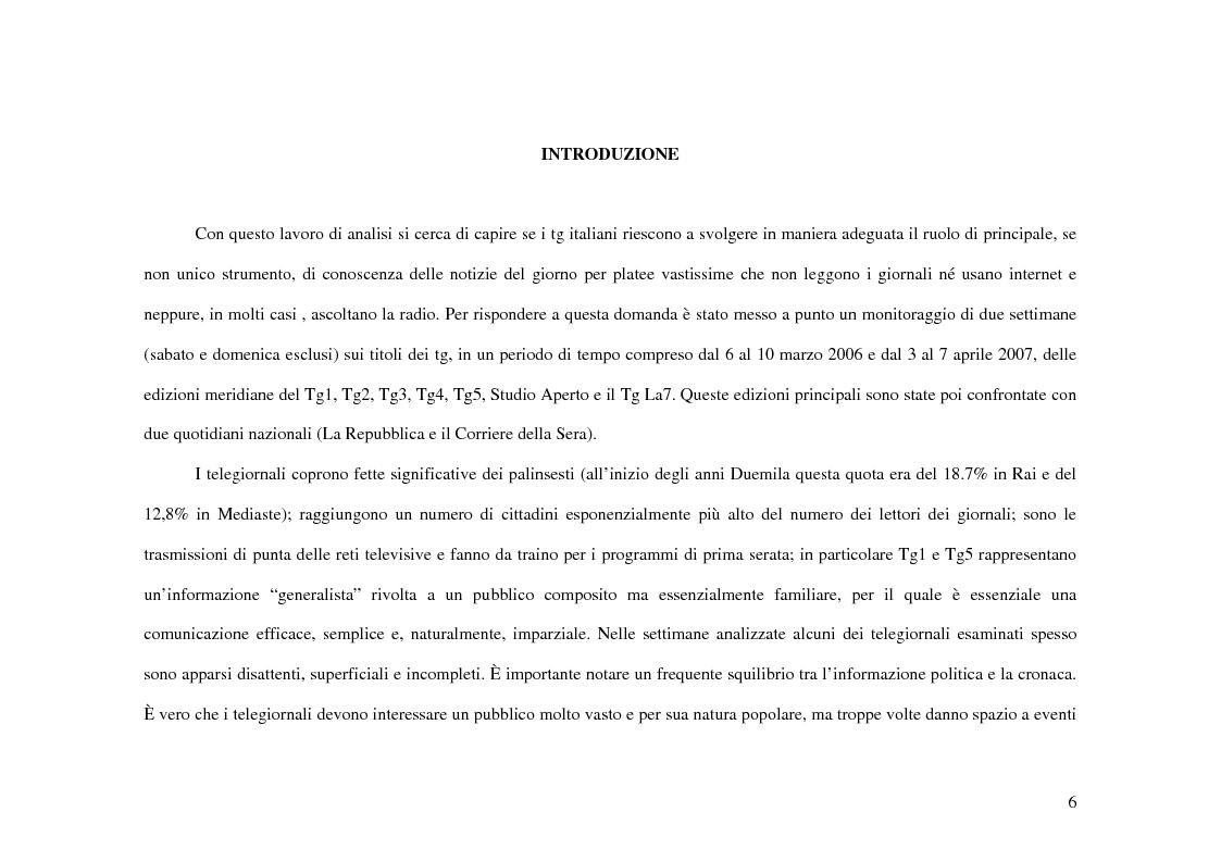 Anteprima della tesi: Tg e politica. Studio di un caso: elezioni politiche 2006, Pagina 1