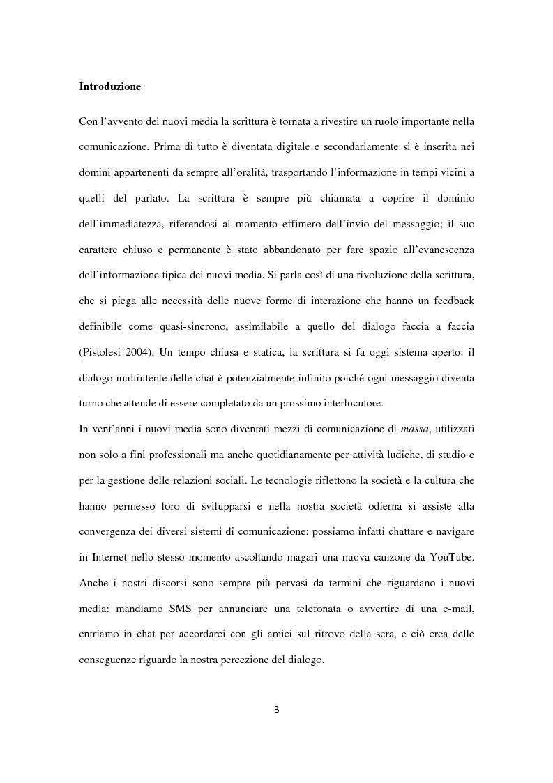Il linguaggio giovanile in rete: analisi di due web chat - Tesi di Laurea