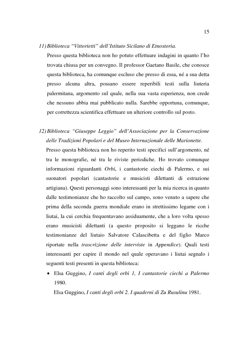Estratto dalla tesi: La liuteria a Palermo; una prima ricognizione sul campo
