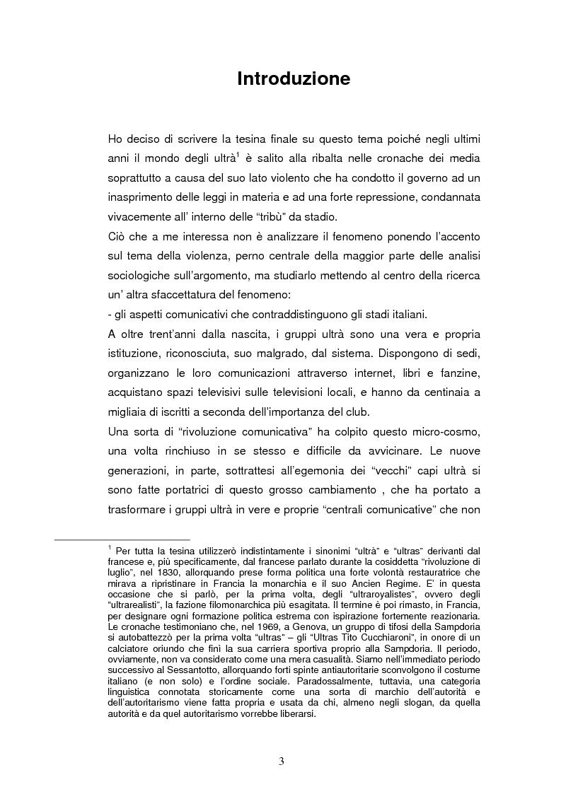 Anteprima della tesi: Ultrà e comunicazione: analisi dei processi comunicativi che contraddistinguono le tribù da stadio, Pagina 1